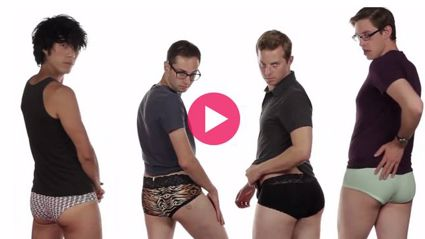 What happens when men try on Victoria's Secret underwear?