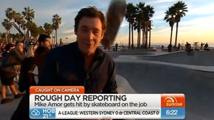 OUCH! Reporter Hit In Head With Stray Skateboard