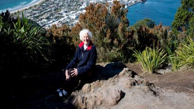 Freda Barrett at the top of the Mount, her second trip in 66 years.