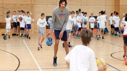 Kiwi NBA basketball star Steven Adams in Mount Maunganui