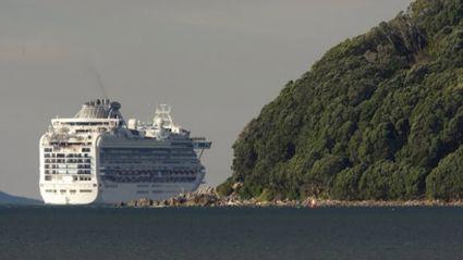 The Diamond Princess leaving the Bay of Plenty last year.