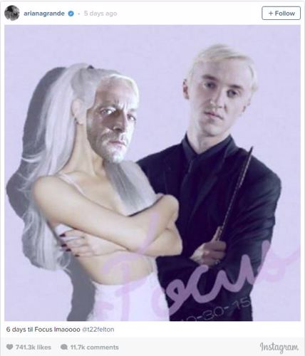 e3ea4fe09 Grande shared the photo on her Instagram account and tagged actor Tom  Felton, who played Malfoy in the Harry Potter series.