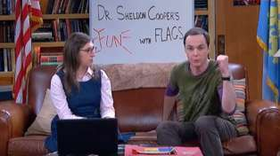 Sheldon and Amy Farrah Fowler host their regular online show on the Big Bang Theory, Fun With Flags. Photo: Justin Davidson/YouTube