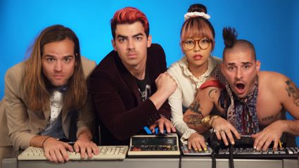 DNCE recreate Rihanna's Work with office supplies