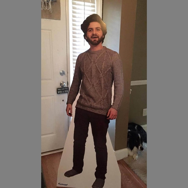 Dalton Ross sent this cardboard cutout to his mother while he studies abroad