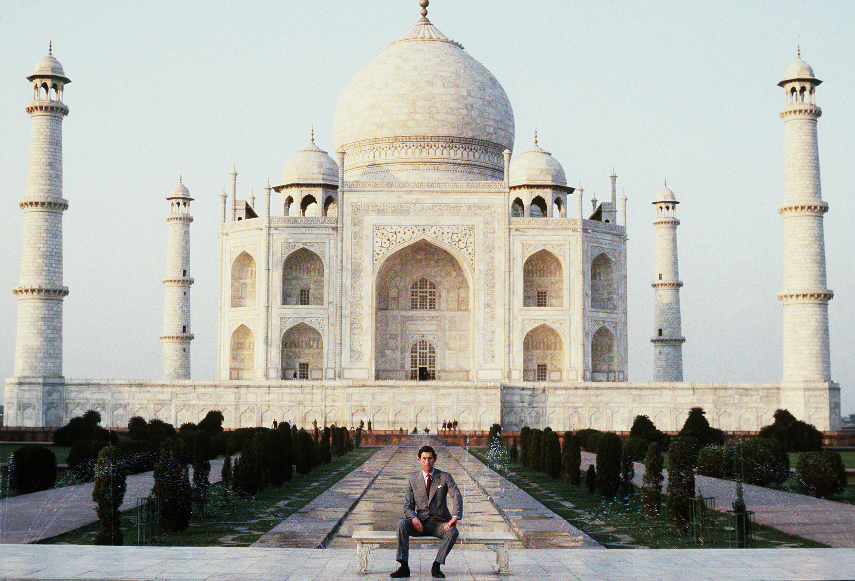 <b> Prince Charles, Prince of Wales poses outside the Taj Mahal during his visit to India in 1980. </b>