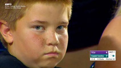 Watch:  Kid Has 45-second Stare-Down with ESPN Cameras & It's Hilarious