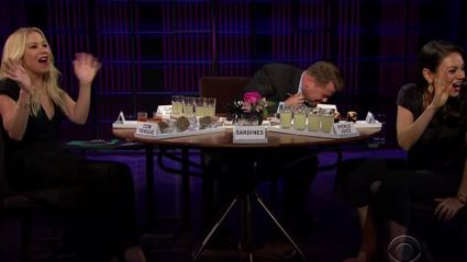 Watch: James Corden Eats Calf Brain To Avoid Answering This Question