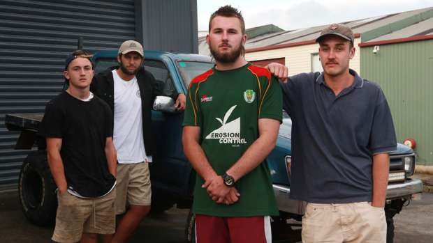 Liam Peters, Ben Foley, Jackson Knight and Max Hindley who offered assistance to victims of a capsized boat Francie. Photo / NZH