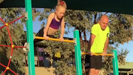Dad tries gymnastics to bond with his daughter and the result is hilarious!