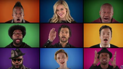 Jimmy Fallon, Paul McCartney, Reese Witherspoon and the 'Sing' cast perform 'Wonderful Christmastime' a cappella