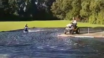 Kiwi's create an epic slip 'n slide with a lawnmower