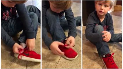 This 5-year-old's genius method for tying shoes is going mega viral