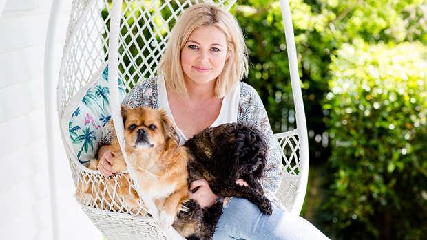 Radio host Sarah Gandy on her swinging chair. Photo / Babiche Martens