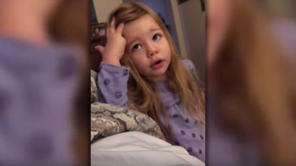 Little girl tells her father off for leaving the toilet seat up