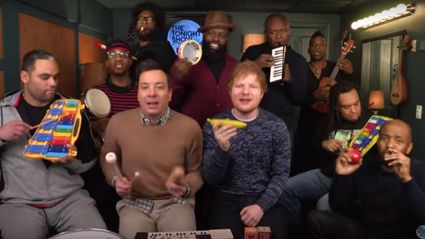 "Ed Sheeran joins Jimmy Fallon on The Tonight Show to sing ""Shape of You"" with classroom instruments"