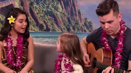 Adorable daddy-daughter duo join Moana star for a sweet performance of 'How Far I'll Go'