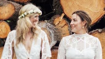 Charity, (left), and her partner Phoebe wed in a special ceremony in New Zealand. Photo / Samantha Brennan / Amber and Rose Photography