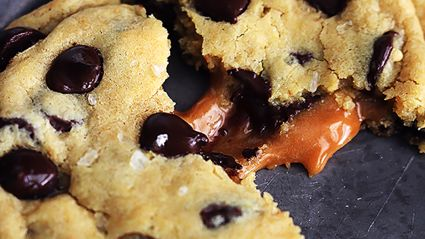 Gooey salted caramel chocolate chip cookies