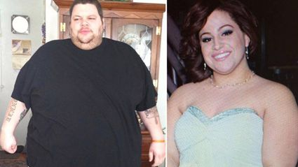 This couple celebrated losing nearly 265kg together by getting married!