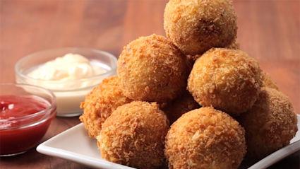 Ham & cheese stuffed mash balls recipe