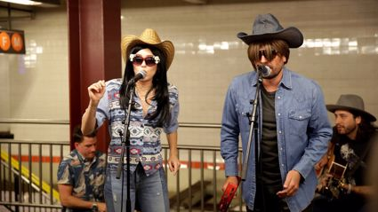 Miley Cyrus and Jimmy Fallon busk undercover in a NYC subway