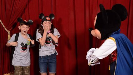 Mickey Mouse surprises two kids with adoption news