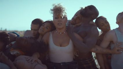 Watch the powerful music video for Pink's latest song What About Us