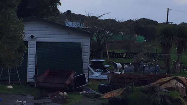 The aftermath from mini tornado that passed South Island. Photo / Lisa Tumahai