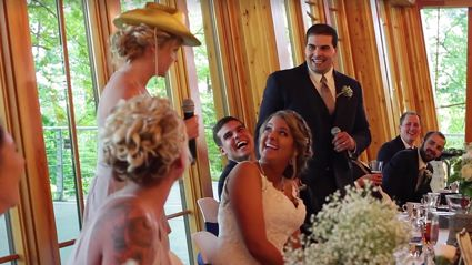 This best man and maid of honour just performed the most epic wedding toast rap!