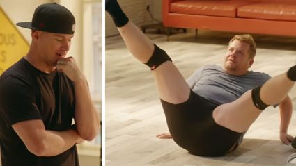 Channing Tatum gets James Corden in shape for Magic Mike Live