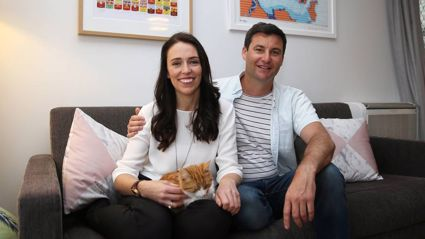Labour Party leader Jacinda Ardern with partner Clarke Gayford at home in Pt Chevalier, Auckland. Photo / Doug Sherring
