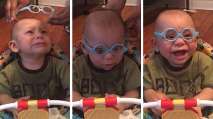 Watch the heartwarming moment this baby boy sees his parents clearly for the first time