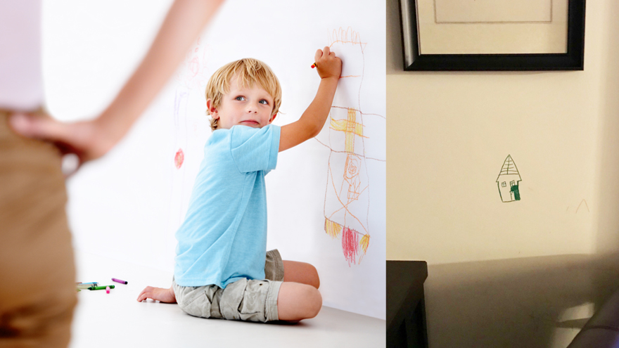 Parents genius solution for kids drawing on the wall
