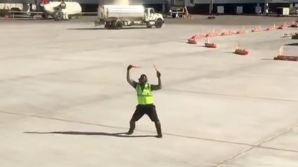New York airport worker goes viral for his amazing tarmac dances