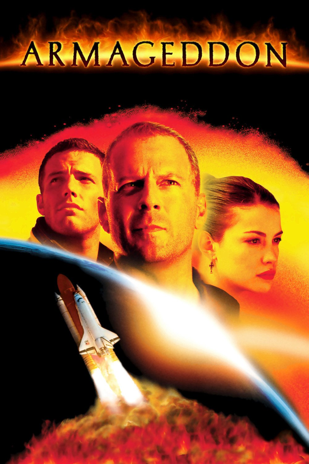 Armageddon follows a group of deep-core drillers sent by NASA to stop a gigantic asteroid on a collision course with Earth. It features an ensemble cast including Bruce Willis, Ben Affleck, Billy Bob Thornton, Liv Tyler, and Owen Wilson.