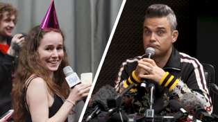 Watch what happened when Intern Juliet tried to deliver Robbie Williams' birthday present