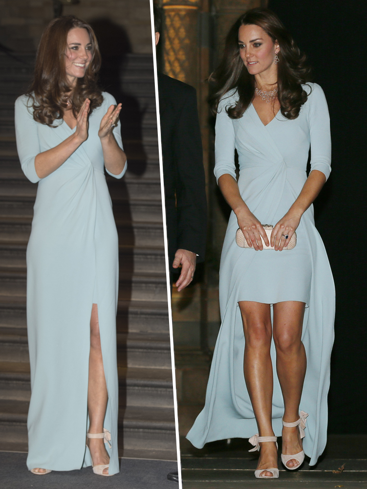 5. After announcing her second pregnancy, Kate looked gorgeous as she stepped out on October 21, 2014, in a sexy ice blue Jenny Packham gown that featured three-quarter length sleeves, a ruched bodice, and a thigh-high slit. She accessorised with cream ankle strap heels and a cream clutch.