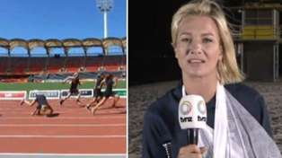 Breakfast host Hayley Holt's nasty tumble at the Commonwealth Games