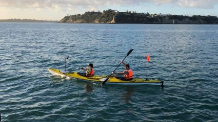 Watch: Sam and producer Lulu kayak to Waiheke to raise money for Plunket