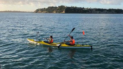 Watch: Sam and producer Lulu kayak to Waiheke to raise money for Plunket