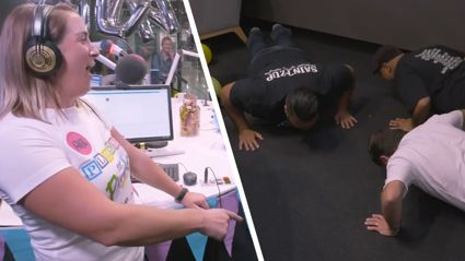 Pledge for Plunket: Adeaze help Fitzy smash out some push ups