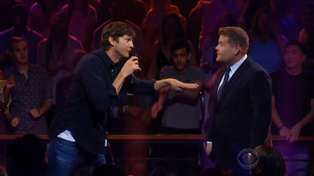 Watch Ashton Kutcher and James Corden go head-to-head in an epic rap battle