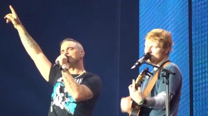 Robbie Williams joins Ed Sheeran on stage for surprise duet of 'Angels' - and it is AMAZING!