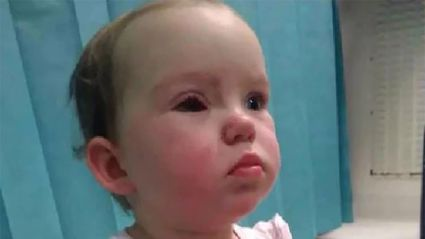 The awful moment a toddler suffers horrific eye injury inside Kmart store