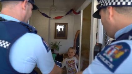 New Zealand police surprise five-year-old birthday boy after he invited them to his party by calling 111