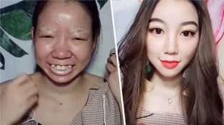 Woman shocks with unbelievable makeup transformation making her look like a completely different person