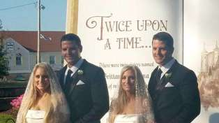 The wedding was dubbed 'Twice Upon a Time'. Photo / via Facebook