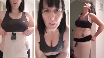 Mum trying to squeeze into tiny spanx proves how ridiculous they actually are