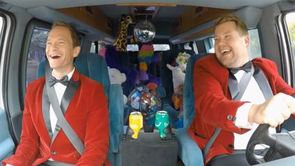 James Corden one-ups Carpool Karaoke delivering singing telegrams with Neil Patrick Harris